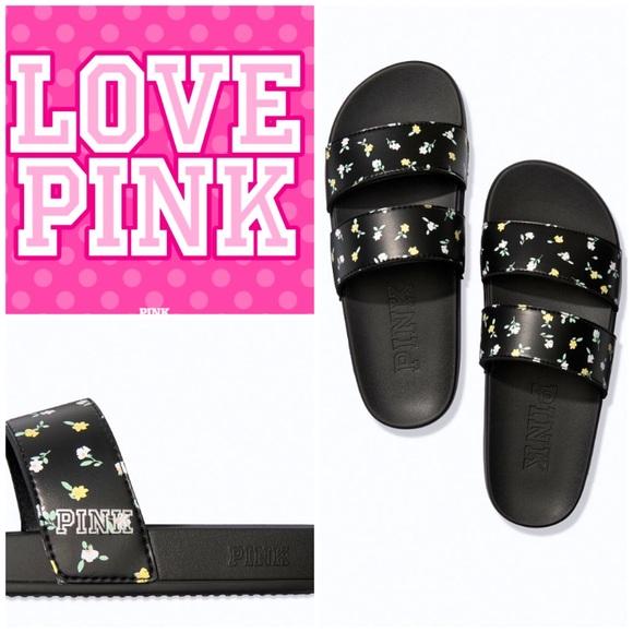 NWT Victoria's Secret Pink floral strap slides